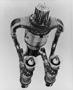 Artist's conception of HTRE-3, a nuclear reactor powering 2 jet engines